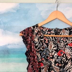 Lucky Brand Floral Ruffle Tee Button Back